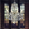 "Picture of 36"" 8 Light Up Chandelier with Antique Brass finish"