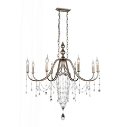 "36"" 8 Light Up Chandelier with Speckled Nickel finish"