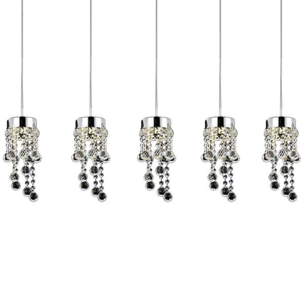 "Picture of 36"" Escalera Modern Crystal Mini Pendants on Linear Rectangular Platform Polished Chrome 5 Lights"