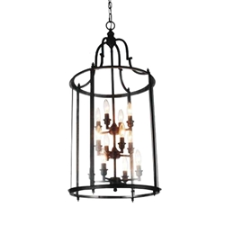 "36"" Lantern Contemporary Rubbed Oil Bronze Three Tier Round Foyer Chandelier 12 Lights"