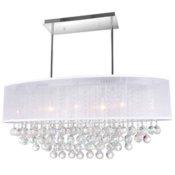"36"" Organza Contemporary Oval Crystal Pendant Chrome Finish Black / White / Champagne Shade Clear / Smoke Crystals 9 Lights"
