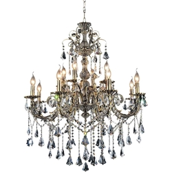 "36"" Ottone Traditional Candle Two Tiers Round Crystal Chandelier Antique Brass Finish 8+4 Lights"