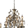"""Picture of 36"""" Ottone Traditional Candle Two Tiers Round Crystal Chandelier Antique Brass Finish 8+4 Lights"""
