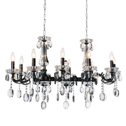 """37"""" 10 Light Up Chandelier with Black finish"""