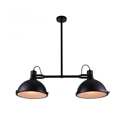 "37"" 2 Light Island Chandelier with Black finish"