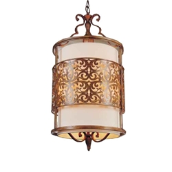 """37"""" 3 Light Drum Shade Chandelier with Brushed Chocolate finish"""