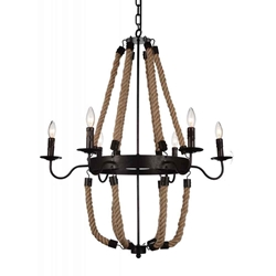 """37"""" 6 Light Up Chandelier with Rust finish"""