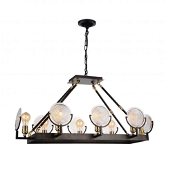 """37"""" 8 Light Up Chandelier with Brown finish"""