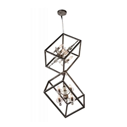"""37"""" 8 Light Up Mini Chandelier with Luxor Silver finish"""