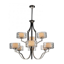 """37"""" 9 Light Drum Shade Chandelier with Chrome finish"""