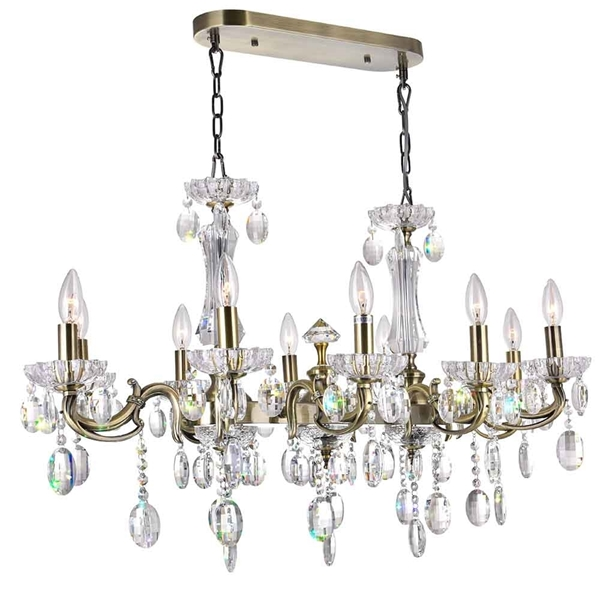 """Picture of 37"""" Ottone Traditional Candle Oval Crystal Chandelier Antique Brass Finish 10 Lights without Lampshades"""