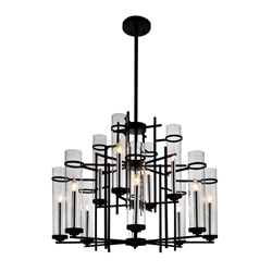 """38"""" 12 Light Up Chandelier with Black finish"""