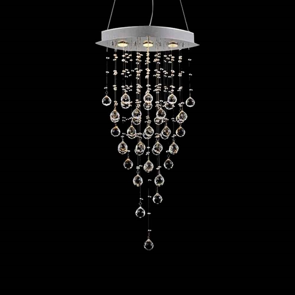 "Picture of 38"" 3 Light Down Chandelier with Chrome finish"