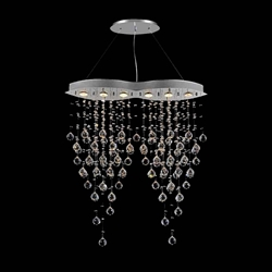 "38"" 6 Light Down Chandelier with Chrome finish"