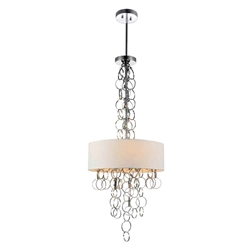 """38"""" 6 Light Drum Shade Chandelier with Chrome finish"""