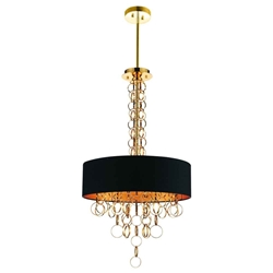 """38"""" 6 Light Drum Shade Chandelier with Gold finish"""