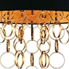 """Picture of 38"""" 6 Light Drum Shade Chandelier with Gold finish"""