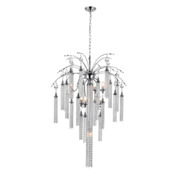 """38"""" 7 Light Down Chandelier with Chrome finish"""