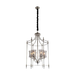 """38"""" 6 Light Up Chandelier with Satin Nickel finish"""