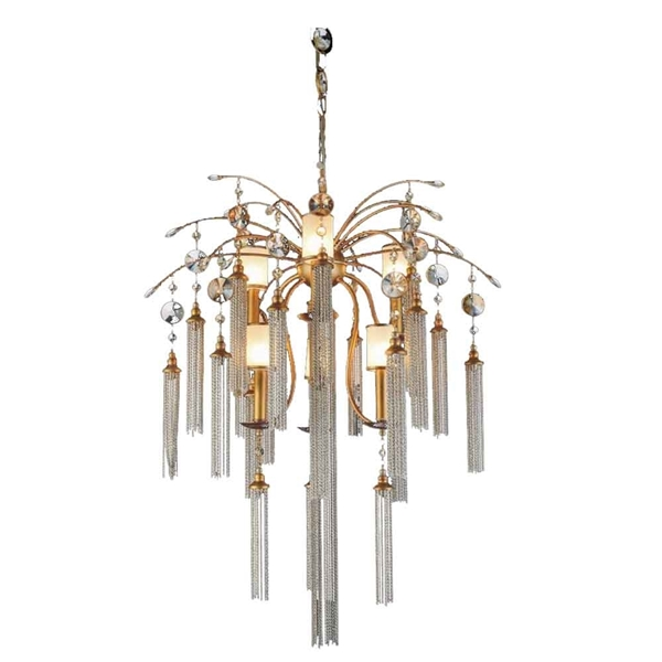 """Picture of 38"""" 7 Light Down Chandelier with French Gold finish"""