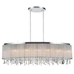 "38"" 7 Light Drum Shade Chandelier with Chrome finish"