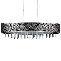 "38"" 7 Light Drum Shade Chandelier with Satin Nickel finish"