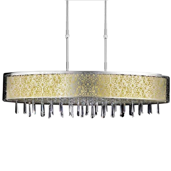 "Picture of 38"" 7 Light Drum Shade Chandelier with Satin Nickel finish"