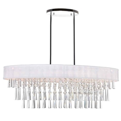 "38"" 8 Light Drum Shade Chandelier with Chrome finish"