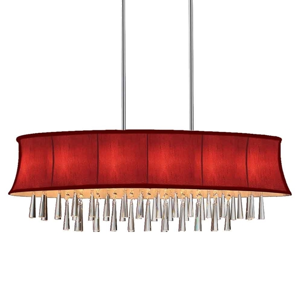 """Picture of 38"""" 8 Light Drum Shade Chandelier with Chrome finish"""