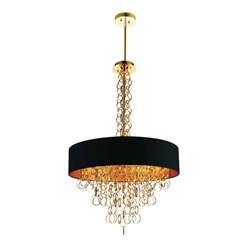 """38"""" 8 Light Drum Shade Chandelier with Gold finish"""