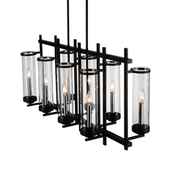 """38"""" 8 Light Up Chandelier with Black finish"""