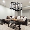 "Picture of 38"" 8 Light Up Chandelier with Black finish"