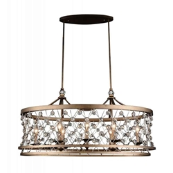 """38"""" 8 Light Up Chandelier with Speckled Bronze finish"""