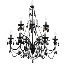 "38"" 9 Light Up Chandelier with Black finish"