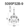 """Picture of 38"""" 9 Light Up Chandelier with Black finish"""