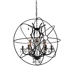 """38"""" 9 Light Up Chandelier with Brown finish"""