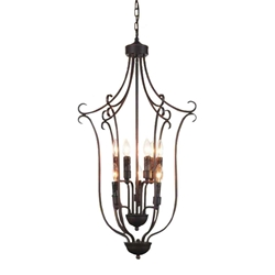 "38"" 9 Light Up Chandelier with Rubbed Brown finish"