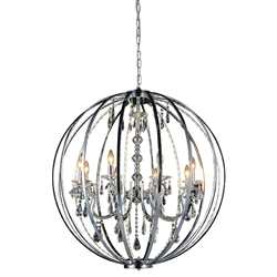 "38"" Led Cage Modern Crystal Round Large Foyer Chandelier Polished Chrome 8 Lights"