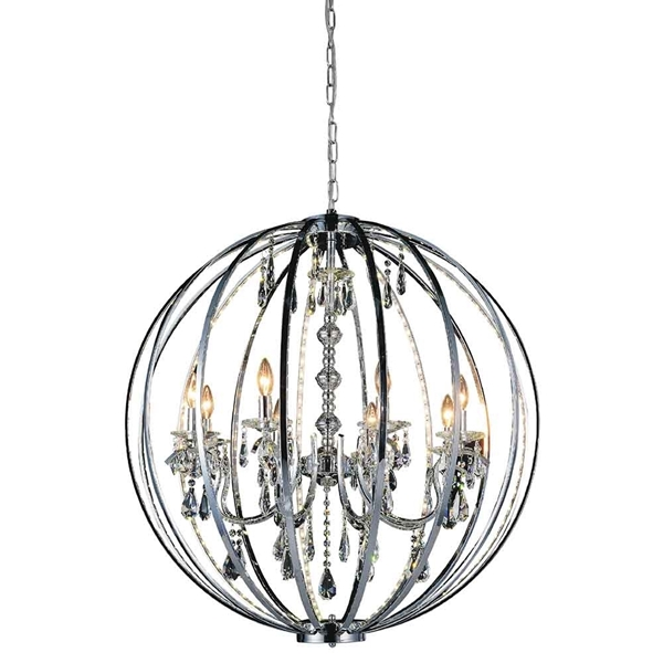 "Picture of 38"" Led Cage Modern Crystal Round Large Foyer Chandelier Polished Chrome 8 Lights"