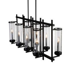 "38"" Sierra Modern Black Iron Linear Rectangular Chandelier 8 Lights"