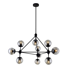 "39"" 10 Light  Chandelier with Black finish"