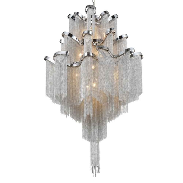 "Picture of 39"" 17 Light Down Chandelier with Chrome finish"