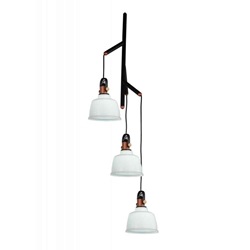 "39"" 3 Light Down Pendant with White finish"