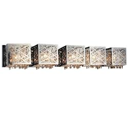 "39"" 39"" Web Modern Laser Cut Crystal Rectangular (S) Vanity Light Stainless Steel 5 Lights"