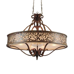 """39"""" 6 Light Drum Shade Chandelier with Brushed Chocolate finish"""