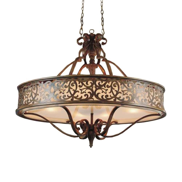 "Picture of 39"" 6 Light Drum Shade Chandelier with Brushed Chocolate finish"
