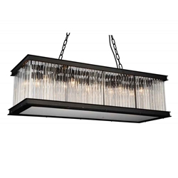 "40"" 10 Light  Chandelier with Black finish"