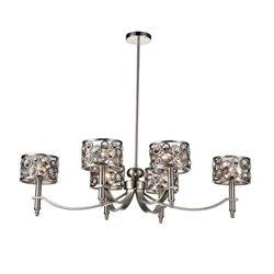 "40"" 6 Light Up Chandelier with Satin Nickel finish"
