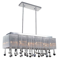 "40"" Gocce Modern String Shade Crystal Rectangular Chandelier Chrome with Black / White / Silver Shade 14 Lights"