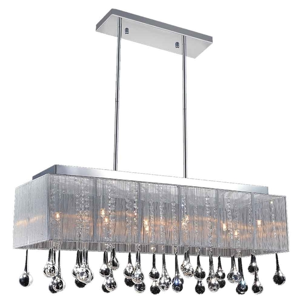 "Picture of 40"" Gocce Modern String Shade Crystal Rectangular Chandelier Chrome with Black / White / Silver Shade 14 Lights"
